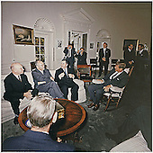 Washington, DC -- United States President John F. Kennedy meets with Soviet officials in the Oval Office of the White House in Washington, DC on October 18, 1962.  Left to right: Soviet Deputy Minister Vladimir S. Seyemenov, Ambassador of the USSR Anatoly F. Dobrynin, Soviet Minister of Foreign Affairs Andrei Gromyko, President Kennedy, photographers, aides. <br /> Credit: Robert Knudsen / White House via CNP