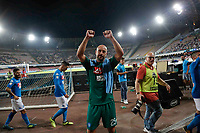 Pepe Reina  greets supporter  at the end of   italian serie a soccer match,between SSC Napoli and Atalanta      at  the San  Paolo   stadium in Naples  Italy , August 27, 2017