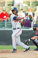 Felix Marte (28) of the Rome Braves follows through on his swing against the Kannapolis Intimidators at CMC-Northeast Stadium on April 25, 2013 in Kannapolis, North Carolina.   (Brian Westerholt/Four Seam Images)