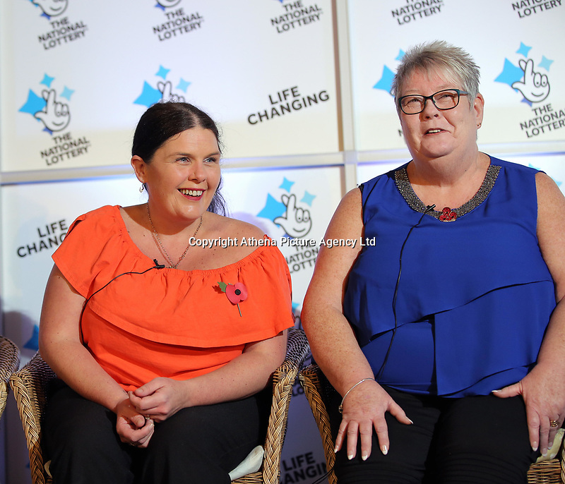 Pictured L-R: Louise Ward and Sian Jones. Wednesday 08 November 2017<br />Re: Presentation of hospital catering syndicate win £25m in Euromillions Jackpot at Hensol Castle, south Wales, UK. Julie Saunders, 56, Doreen Thompson, 56, Louise Ward, 37, Jean Cairns, 73, SIan Jones, 54 and Julie Amphlett, 50 all work as catering staff for Neath Port Talbot Hospital in south Wales.