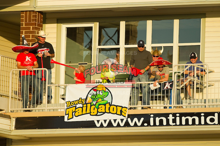 "The ""Rowdy Tailgators"" enjoy a Thirsty Thursday South Atlantic League game between the Rome Braves and the Kannapolis Intimidators at CMC-Northeast Stadium on April 25, 2013 in Kannapolis, North Carolina.   (Brian Westerholt/Four Seam Images)"