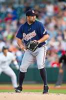 Gwinnett Braves starting pitcher Kanekoa Texeira (54) in action against the Charlotte Knights at BB&T Ballpark on August 19, 2014 in Charlotte, North Carolina.  The Braves defeated the Knights 10-5.   (Brian Westerholt/Four Seam Images)