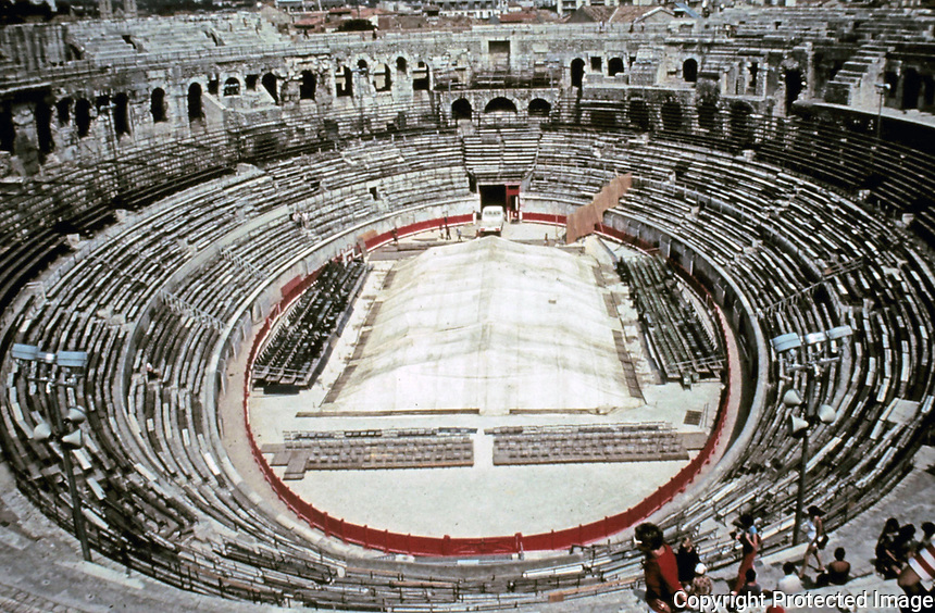 Interior view of the Colosseum Amphitheater, Rome, Italy