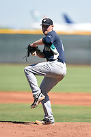 Seattle Mariners pitcher Zack Littell (31) during an Instructional League game against the Cleveland Indians on October 1, 2014 at Goodyear Training Complex in Goodyear, Arizona.  (Mike Janes/Four Seam Images)