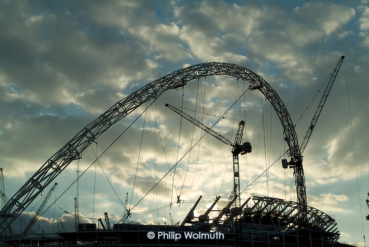 Sunset over the construction site of Wembley Stadium in north London.