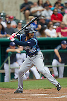 Corpus Christi Hooks outfielder Brandon Meredith (22) at bat during the Texas League baseball game against the San Antonio Missions on May 10, 2015 at Nelson Wolff Stadium in San Antonio, Texas. The Missions defeated the Hooks 6-5. (Andrew Woolley/Four Seam Images)