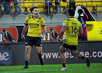 Peter Umaga-Jensen celebrates his try during the Super Rugby match between the Hurricanes and Blues at Westpac Stadium in Wellington, New Zealand on Saturday, 15 June 2019. Photo: Dave Lintott / lintottphoto.co.nz