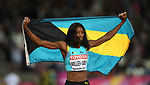 Shaunae MILLER-UIBO (BAH) celebrates ger silver with her flag after the womens 200m final. IAAF world athletics championships. London Olympic stadium. Queen Elizabeth Olympic park. Stratford. London. UK. 11/08/2017. ~ MANDATORY CREDIT Garry Bowden/SIPPA - NO UNAUTHORISED USE - +44 7837 394578