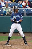 August 7, 2007: Infielder Ogui Diaz of the Everett AquaSox eyes his bat during a Northwest League game at Everett Memorial Stadium in Everett, Washington.