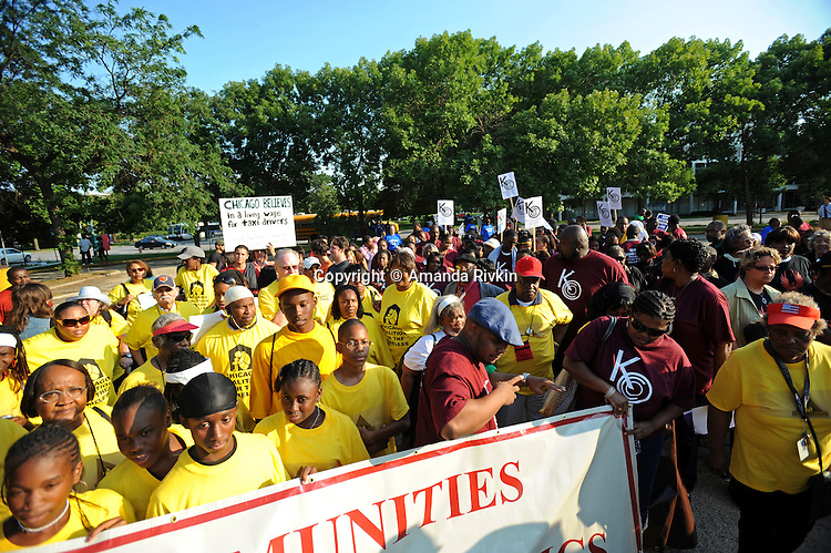 Protesters organized by Communities for an Equitable Olympics 2016, an umbrella group comprised of various community organizations, demonstrate on the potential site of a future Olympic village at Martin Luther King Drive at 31st Street in Chicago, Illinois on August 14, 2008. Chicago is currently bidding for the 2016 Olympics; organizers question the long-term economic benefits to the communities effected by the construction of the Olympic village and the city's financial resources.