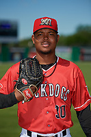 Batavia Muckdogs Julio Frias (30) poses for a photo before a NY-Penn League game against the West Virginia Black Bears on June 26, 2019 at Dwyer Stadium in Batavia, New York.  Batavia defeated West Virginia 4-2.  (Mike Janes/Four Seam Images)