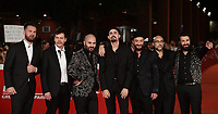 Da sinistra: Andrea Mariano, Ermanno Carla, Giuliano Sangiorgi, il regista Gianluca Grandinetti, Danilo Tasco, Andrea De Rocco and Emanuele Spedicato posano sul red carpet di presentazione del film 'Negramaro. L'anima vista da qui' alla 14^ Festa del Cinema di Roma all'Aufditorium Parco della Musica di Roma, 25 ottobre 2019. <br /> From left: Andrea Mariano, Ermanno Carla, Giuliano Sangiorgi, Director Gianluca Grandinetti, Danilo Tasco, Andrea De Rocco and Emanuele Spedicato  pose on the red carpet to present the movie 'Negramaro. L'anima vista da qui' during the 14^ Rome Film Fest at Rome's Auditorium, on 25 October 2019.<br /> UPDATE IMAGES PRESS/Isabella Bonotto