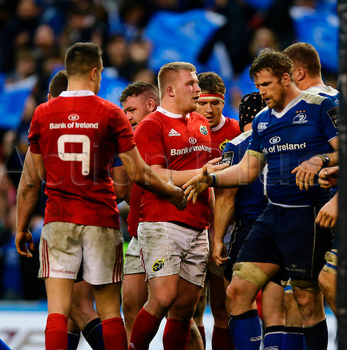 02.04.2016. Aviva Stadium, Dublin, Ireland. Guinness Pro12.  Leinster versus Munster. Players shake hands after the final whistle.