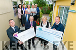 Enable Ireland Kerry Services and Recovery Haven Cancer Support House received funds totalling €22400 from The Hospital Saturday Fund. Sean Scally, Enable Ireland Kerry Services, and Kenneth Reynolds, Fundraising Co-Ordinator at Recovery Haven Kerry Cancer Support House were presented with cheques by CEO of the Hospital Saturday Fund, Paul Jackson and Kay Madden, HSF Health Plan, Pictured with Dermot Crowley,  Jacinta Bradley, Philomena Stack, Marion Barnes, Paula Henry and Maureen O'Brien