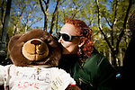 On April 29th, 2006 thousands of anti-war protesters rallied at Union Square in Manhattan and marched down Broadway to show their anger at the Bush administration for the continuing war in Iraq.. Lissa Joseph and Ted, the teddy bear for peace.