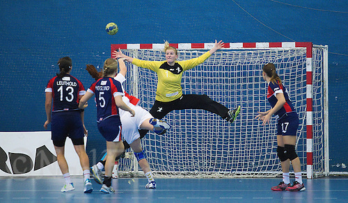 22 OCT 2011 - LONDON, GBR - Britain's goalkeeper Sarah Hargreaves (#01) leaps as she tries to save a shot during Britain's Women's 2012 European Handball Championship qualification match against Russia at the National Sports Centre at Crystal Palace .(PHOTO (C) NIGEL FARROW)
