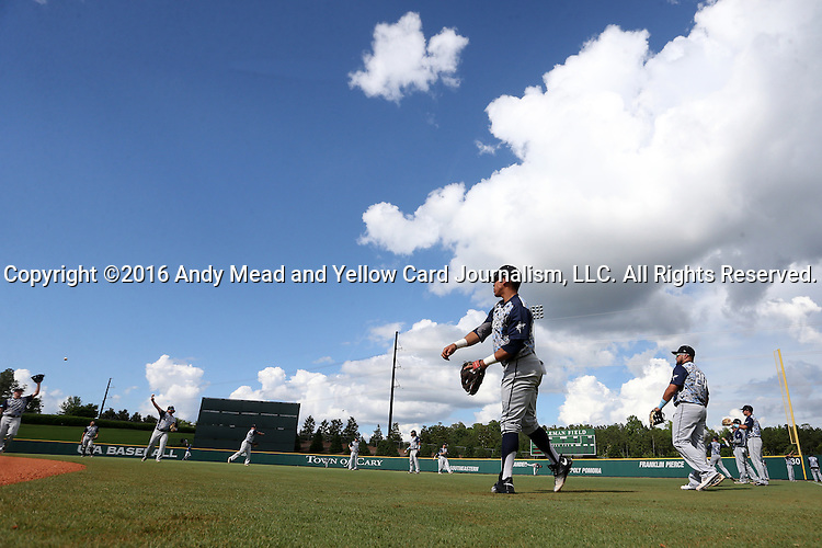 31 May 2016: Nova Southeastern players warm up before the game. The Nova Southeastern University Sharks played the Lander University Bearcats in Game 8 of the 2016 NCAA Division II College World Series  at Coleman Field at the USA Baseball National Training Complex in Cary, North Carolina. Nova Southeastern won the game 12-1.