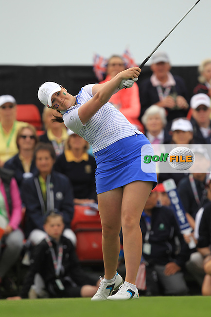 Olivia Mahaffey on the 1st tee during the Friday morning Foursomes of the 2016 Curtis Cup at Dun Laoghaire Golf Club on Friday 10th June 2016.<br /> Picture:  Golffile | Thos Caffrey