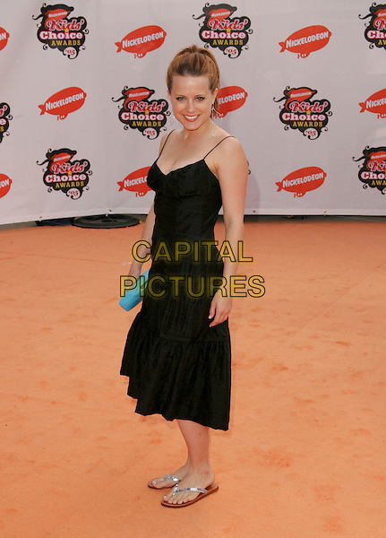 ALLISON MUNN.Attends Nickelodeon's 18th Annual Kids' Choice Awards Show held at UCLA's Pauley Pavilion in Westwood, California, April 2nd 2005..full length black dress mun silver flip flops blue clutch bag purse.Ref: DVS.www.capitalpictures.com.sales@capitalpictures.com.©DVS/Capital Pictures