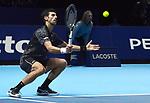 London UK 14th November 2018 Nitto ATP World Tour Finals at 02 Arena London UK Novak Djokovic SRB Vs Alexander Zverev GER Djokovic in action during the match