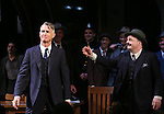 """John Slattery and Nathan Lane during the Broadway Opening Night performance curtain call bows for """"The Front Page""""  at the Broadhurst Theatre on October 20, 2016 in New York City."""