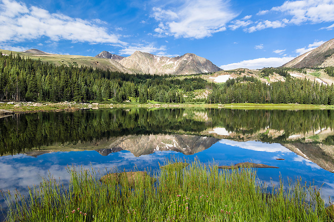 Lost Lake, Rowe Mountain, reflection, water, high elevation, subalpine, forest, landscape, back country, nature, summer, August, morning, Rocky Mountain National Park, Colorado, USA