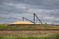 A large grain elevator in the Palouse region of Wasington state.