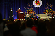 May 7, 2013  (College Park, Maryland)  His Holiness the 14th Dalai Lama, Tenzin Gyatso, speaks at the Anwar Sadat Lecture for Peace at the University of Maryland Comcast Center, May 7, 2013.  (Photo by Don Baxter/Media Images International)