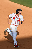 Mitchell Gunsolus (22) of the Greenville Drive heads toward third on a Jagger Rusconi single in the bottom of the ninth in a game against the Rome Braves on Sunday, August 13, 2017, at Fluor Field at the West End in Greenville, South Carolina. He would later score the winning run. Greenville won, 2-1. (Tom Priddy/Four Seam Images)