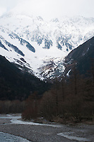 The Azusa River flows across the Kamikochi plains at the base of the Hotaka Range.