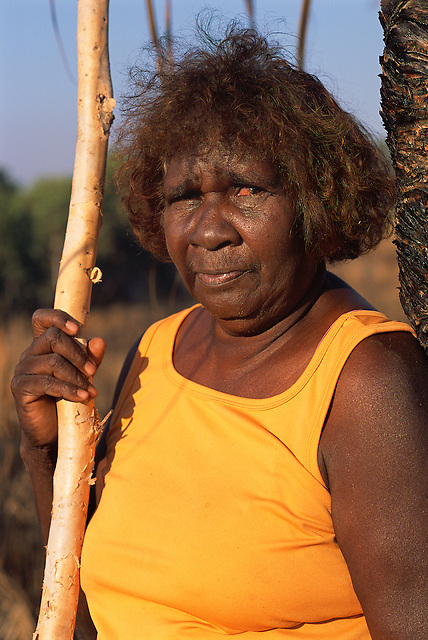 Mavis Ngallametta, artist, collecting on country, Aurukun, Cape York Peninsula.