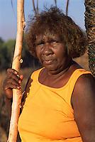Mavis Ngallametta, artist, collecting on country, Aurukun, Cape York Peninsula.