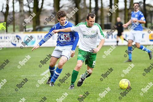 2016-11-20 / Voetbal / Seizoen 2016-2017 / Weelde - Minderhout / Rob Van Raak (l. Weelde) met Jens Lenaerts<br /> <br /> ,Foto: Mpics.be