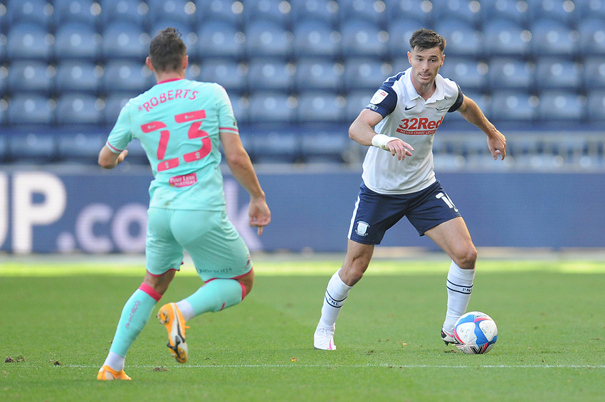 Preston North End's Andrew Hughes under pressure from Swansea City's Connor Roberts<br /> <br /> Photographer Kevin Barnes/CameraSport<br /> <br /> The EFL Sky Bet Championship - Preston North End v Swansea City - Saturday September 12th 2020 - Deepdale - Preston<br /> <br /> World Copyright © 2020 CameraSport. All rights reserved. 43 Linden Ave. Countesthorpe. Leicester. England. LE8 5PG - Tel: +44 (0) 116 277 4147 - admin@camerasport.com - www.camerasport.com
