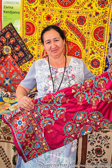 The 2015 Santa Fe International Folk Art Marketl, featuring scores of artists from a large number of countries,  has become the most popular summer event in a city already filled with a number of famous, world class cultural celebrations.Zarina Kendjaeva brought rugs from Uzbekistan_