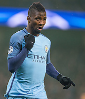 Kelechi Iheanacho of Manchester City celebrates scoring his goal during the UEFA Champions League GROUP match between Manchester City and Celtic at the Etihad Stadium, Manchester, England on 6 December 2016. Photo by Andy Rowland.