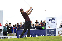 Adrien Saddier (FRA) tees off the 15th tee during Friday's storm delayed Round 2 of the Andalucia Valderrama Masters 2018 hosted by the Sergio Foundation, held at Real Golf de Valderrama, Sotogrande, San Roque, Spain. 19th October 2018.<br /> Picture: Eoin Clarke | Golffile<br /> <br /> <br /> All photos usage must carry mandatory copyright credit (&copy; Golffile | Eoin Clarke)