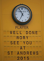 20.07.2014. Hoylake, England. The Open Golf Championship, Final Round.   Rory MCILROY [NIR] wins the 2014 Open and the display at Hoylake sends him the message..