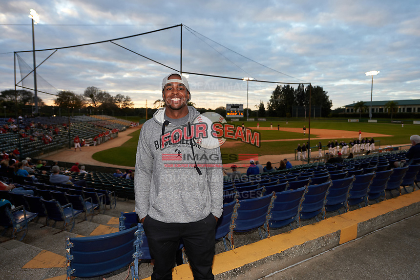 Niagara University Purple Eagles alumni Wynton Bernard, of the Detroit Tigers organization, poses for a photo during a game against the Ohio State Buckeyes on February 20, 2016 at Holman Stadium at Historic Dodgertown in Vero Beach, Florida.  Ohio State defeated Niagara 10-7.  (Mike Janes/Four Seam Images)