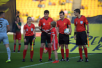 The coin toss is taken before the A-League football match between Wellington Phoenix and Brisbane Roar at Westpac Stadium in Wellington, New Zealand on Saturday, 23 November 2019. Photo: Dave Lintott / lintottphoto.co.nz