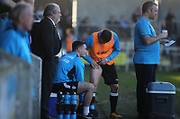 Not too much interest in the thigh strain from his own Dartford coaching staff or physio during Dartford vs Woking, Vanarama National League South Football at Princes Park on 23rd February 2019