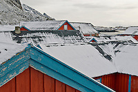 Snow covered Rorbu - fishermans huts turned into tourist accomodation, Å, Lofoten, Norway