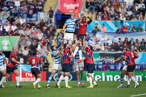 11.10.2015. King Power Stadium, Leicester, England. Rugby World Cup. Argentina versus Namibia. Namibia lock Tjiuee Uanivi wins a line out from Argentina lock Matias Alemanno.