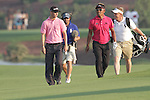 Thongchai Jaidee and Martin Kaymer walking the 18th during the third round of the Dubai World Championship on the Earth Course at the Jumeirah Golf Estate, Dubai..Picture Fran Caffrey/www.golffile.ie.