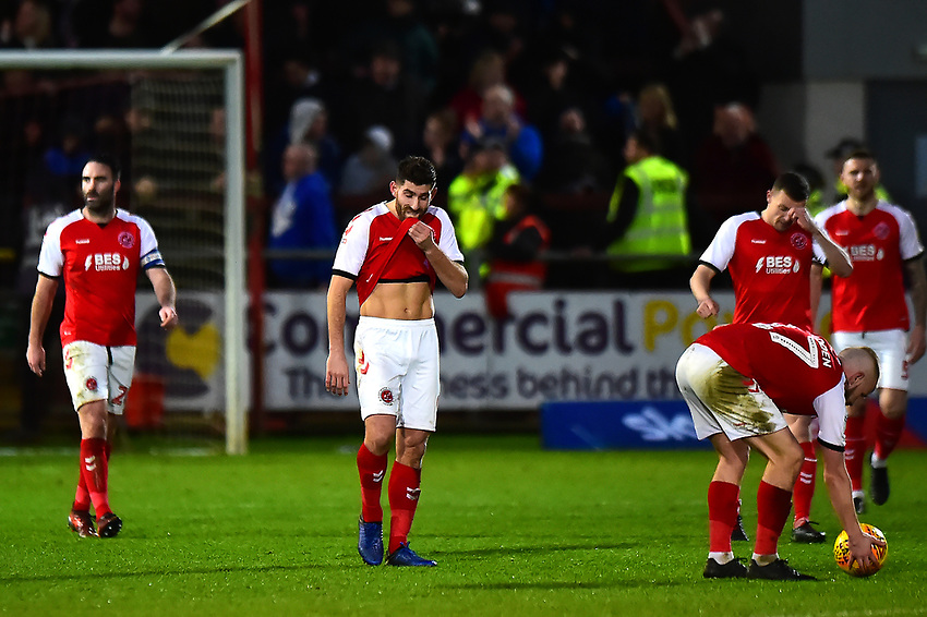 Fleetwood Town's Ched Evans and his team-mates look dejected<br /> <br /> Photographer Richard Martin-Roberts/CameraSport<br /> <br /> The EFL Sky Bet League One - Fleetwood Town v Portsmouth - Saturday 29th December 2018 - Highbury Stadium - Fleetwood<br /> <br /> World Copyright © 2018 CameraSport. All rights reserved. 43 Linden Ave. Countesthorpe. Leicester. England. LE8 5PG - Tel: +44 (0) 116 277 4147 - admin@camerasport.com - www.camerasport.com