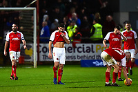 Fleetwood Town's Ched Evans and his team-mates look dejected<br /> <br /> Photographer Richard Martin-Roberts/CameraSport<br /> <br /> The EFL Sky Bet League One - Fleetwood Town v Portsmouth - Saturday 29th December 2018 - Highbury Stadium - Fleetwood<br /> <br /> World Copyright &copy; 2018 CameraSport. All rights reserved. 43 Linden Ave. Countesthorpe. Leicester. England. LE8 5PG - Tel: +44 (0) 116 277 4147 - admin@camerasport.com - www.camerasport.com