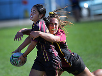 Hamilton GHS v Lytton High School girls pool match. 2019 Sir Gordon Tietjens Sevens college rugby tournament at CET Arena in Palmerston North, New Zealand on Saturday, 2 March 2019. Photo: Dave Lintott / lintottphoto.co.nz