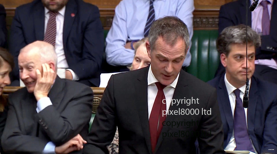 Pic shows:  Ed Miliband could not keep his eyes off the naked protestors as Peter Kyle MP gave his speech on his motion today.<br /> <br /> He tried to look disinterested but his eyes kept darting upwards and at one point he blew out his cheeks - perhaps to cool himself down.<br /> <br /> Frank Field was a bit slow on the uptake but giggled when he realise what was going on.<br /> <br /> Nude protest.Climate change naked protest in House of commons<br />  1.4.19<br /> <br /> <br /> <br /> supplied by Pixel8000 Ltd<br /> <br /> <br /> <br /> Picture by Pixel8000 07917221968