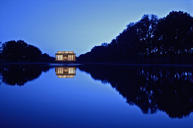 "Lincoln memorial at sunset seen in ""Reflecting Pool"""