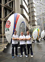 London, England.  (L-R) England coaches Andy Farrell, Graham Rowntree and Mike Catt pose for a photograph following a press conference to announce the England rugby squad for the QBE Internationals on October 25, 2012 in London, England.